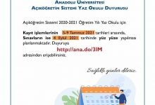 Aof 2021 Yaz Okulu Kayıtları